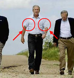 Underarm irritation source of late president George W. Bush's peculiar walking posture