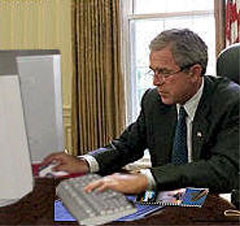 President Bush attempts to alter own Wikipedia entry: Photograph by anonymous aide