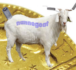 Individual NannoGoat (shown in front of a half-inch $500 coin)