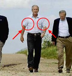 Underarm irritation source of late president George W. Bush's peculiar walking posture
